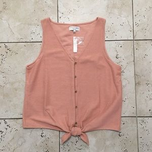 Madewell Coral Pink Button Down Tank